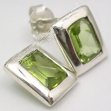 """925 Solid Silver Authentic SQUARE PERIDOT FACTORY DIRECT Stud Post Earrings 0.4"""""""