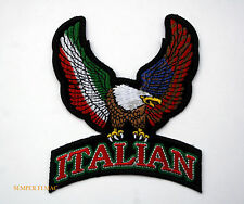 ITALIAN AMERICAN EAGLE HAT PATCH US ITALIA FLAG ITALY PIN UP SOCCER BIKER WOW