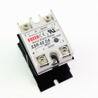 Solid State Relay Module 3-32V DC Input 24-380VAC SSR-40DA With Heat Sink