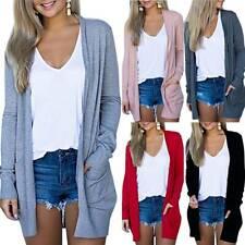 Women's Cardigan Long Sleeve Open Front Draped Sweater Knit Jumper w/ Pockets