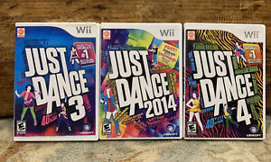 Just Dance 3 4 & 2014 (Nintendo Wii) Video Game Lot Bundle Complete With Manuals