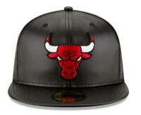 New Era 59FIFTY Team Simulated Leather Fitted Hat Black-Red 100% Original