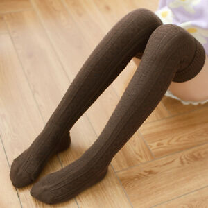 Women Cable Knit Over Knee Long Socks Cotton Thigh-High Stockings Winter Warm