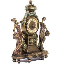 Clock Statue Figurines Victorian Style Home Decor for Office w/ Bronze Finish