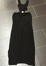 MISS BLUSHHH BLACK CUT OUT WAIST DIAMANTE MAXI DRESS SIZE 10