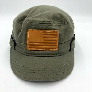 Cremieux Military Flat Top Hat Cap Cadet Mens L/XL Leather American Flag Green
