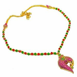 """Ruby  Emerald Gemstone Gold Overlay Silver Jewelry N-93 Necklace 18"""""""