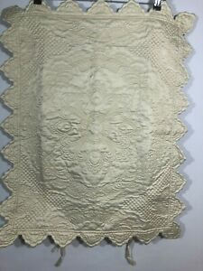 Soft Surroundings Pillow Sham scalloped Edge White Ivory Quilted Top Stitch