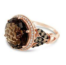 LeVian® Ring Smoky Quartz Vanilla Diamonds® Chocolate Diamonds® 14K Rose Gold
