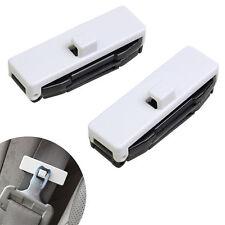 1 Pair Car Auto Seat Belt Adjuster Locking Stopper Safty Aid. White. UK Supplier