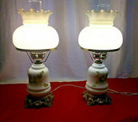 VTG ACCURATE CASTING PAIR MILK GLASS FLORAL GONE WITH THE WIND HURRICANE LAMPS