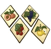 Vintage Ceramic Vegetable Wall Plaques Decor 1970's Mid Century Modern Set Of 4