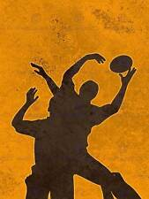 PAINTING SPORT ILLUSTRATION RUGBY FOOTBALL SILHOUETTE JUMP POSTER PRINT BMP11202