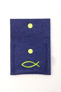Etui Rosenkranz NICOLAI Filz Merino Blau Tasche Junge Fisch Silber 80x90mm