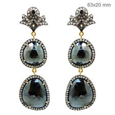 Black Spinel Dangle Earrings 14k Gold Pave 2.1ct Diamond Sterling Silver Jewelry