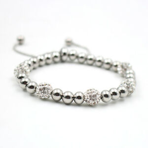 316 S.Steel ball Bracelet Snake chain Clay crystal charm can be adjusted love