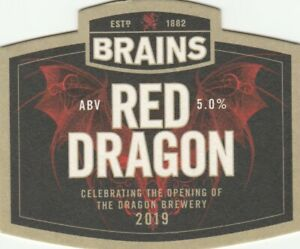 BEERMAT - BRAINS BREWERY - RED DRAGON - (Cat No 253) - (2019)