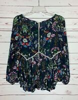 Entro Boutique Women's S Small Navy Floral Long Sleeve Spring Top Blouse Shirt