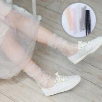 Women Thin Transparent Socks Star Moon Mesh Tulle Socks Fashion Mid Tube Socks