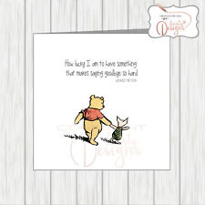 Winnie The Pooh Sorry You're Leaving Card - Workmate Colleague Office Friend etc