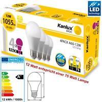 LED SMD Birnen Lampe 4 x E27 12W (= 75 Watt) Leuchtmittel Warmweiß Glühbirne