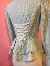 Betsey Johnson Jacket Blue Seersucker 4 S Small Victorian Bustle Ruffles Blazer