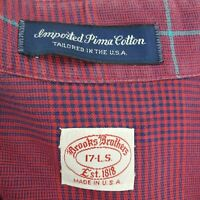 BROOKS BROTHERS 17-L.S. Made in USA Dress Shirt Mens Button Down Front Windowpan