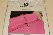 Playboy Home Collection Pink Printed Queen Bed Satin Fitted Sheet Set New