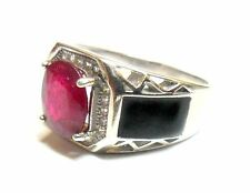 New Design Fashion 925 Sterling Silver  in Natural Ruby & C z & B Onyx mens Ring