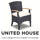 New Outdoor Wicker Teak Timber Dining Chair Patio Deck Garden Rattan Furniture