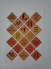 New Scale Construction Road Sign Decals 1:12/1:14/1:162 sheets 2 inch signs