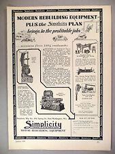 Simplicity Motor Rebuilding Equipment PRINT AD - 1929
