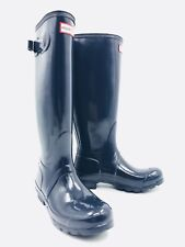 Hunter Original Tall Gloss Gray/Blue Rain Boots Women's Size 6