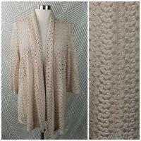 JM Plus Size 2X 18/20 Open Knit Front Cardigan Sweater Jacket Crochet Lace Tan