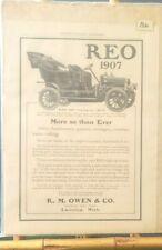 Antique 1907 Original Reo by R.M. Owen & Company Car Art Print Ad