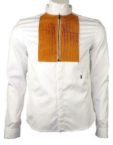 Pierre Balmain zippered tuxedo shirt white/mustard