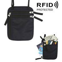 RFID Secure Travel Neck Pouch Passport Holder Neck Wallet Black Hidden Wallets