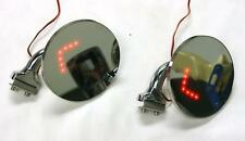 "4"" Universal Round Door Edge Peep Mirrors w/ LED Turn Signal Arrow PAIR Hot Rod"