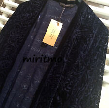 RARE ZARA KIMONO BLUE NAVY VELVET SHEER FLOCKED FRINGING JACKET BLAZER COAT - M
