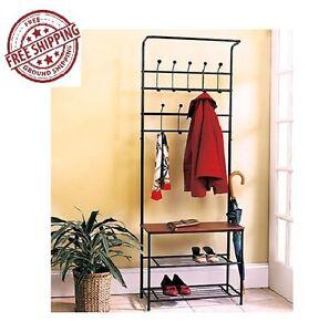 Entryway Coat Rack Shoe Bench Hanging Stand Tree Storage Organizer Metal Garment
