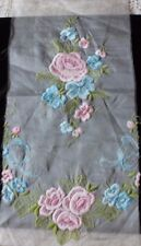 Vintage Swiss/French Pink Roses&Bows Embroidery On Cotton Mix Voile Fabric c1940