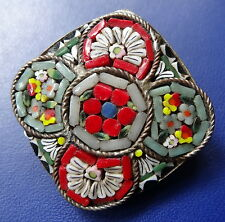 vintage art deco ITALY multi colour glass micro mosaic flower brooch c pin -C843