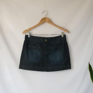 HUDSON Denim Short Mini Skirt Indigo Blue Lightweight  2000s W27 AU UK 9 10