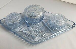 Antique Vintage Art Deco  Dressing Table Set Blue Pressed Glass