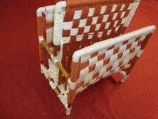 "Ooak Handmade Retro Macrame Magazine Rack Holder Checkerboard 20"" Rust L@K"