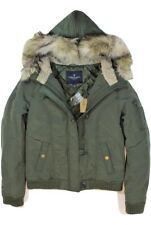 NEW American Eagle AEO Women Faux Fur Hood Lined Bomber Jacket Olive - XS S M L