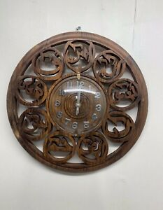 Islamic Wooden Round Clock With Lohai Qurani Size 36Cm