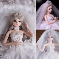 """1/3 BJD Doll Girl Princess Bride Ball Joints Free Makeup Clothes Wigs 24"""" Puppen"""
