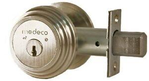 """Medeco 11-R503 Maxum Residential Single Cylinder Deadbolt, Brass 2-3/8"""" Backset"""