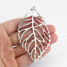 5pcs Large Antique Silver Open Filigree Leaf Charms Pendants Jewelry Findings